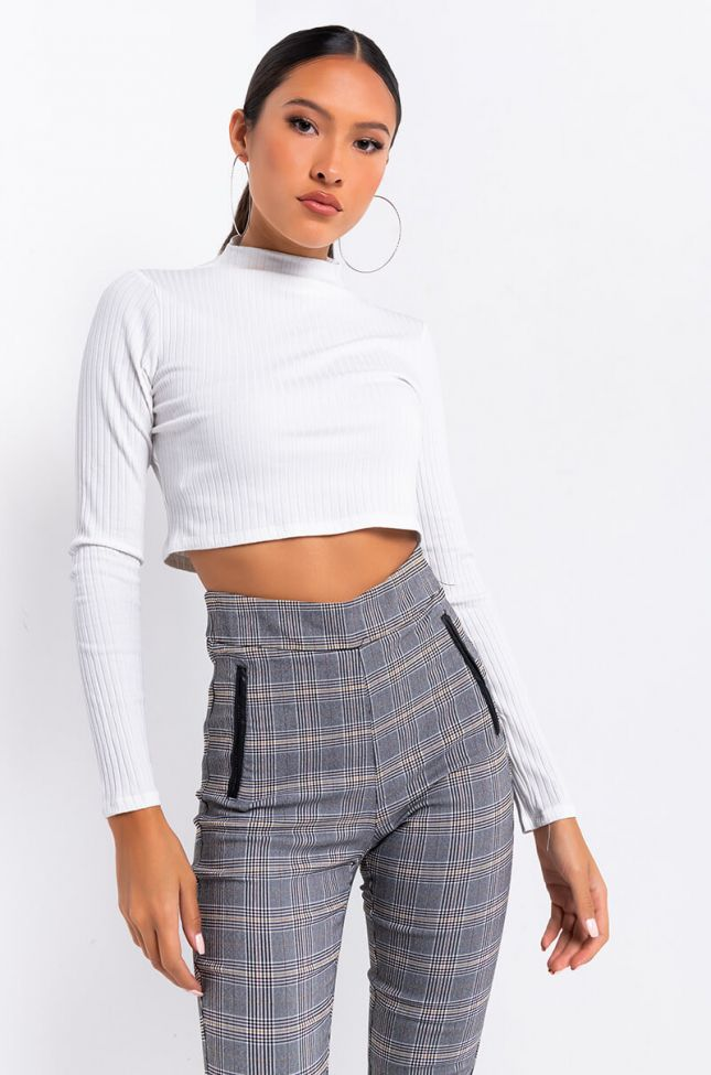 Front View Chill Day Long Sleeve Mock Neck Crop Top in White