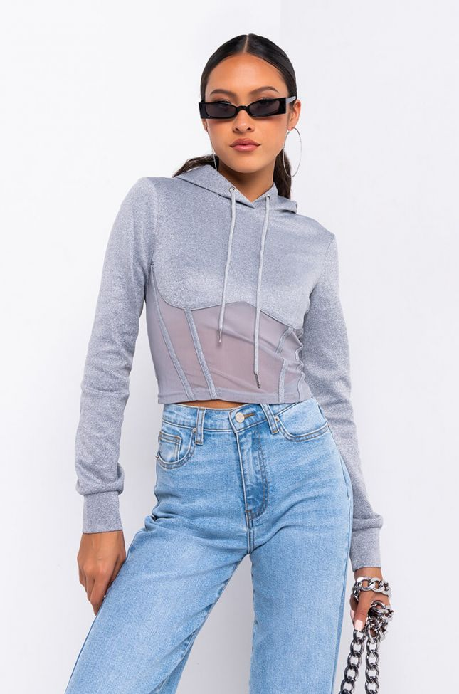 Front View Chill Vibes Long Sleeve Sweater in Heather Grey