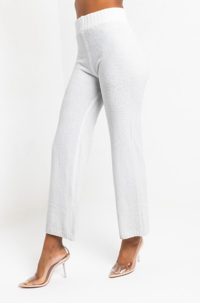 Side View Chillin Af Cozy Wide Leg Pant in Ivory