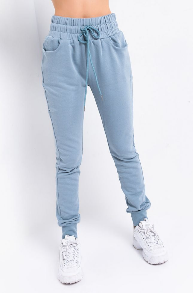 Front View Chillin Af High Waist Sweatpant in Blue