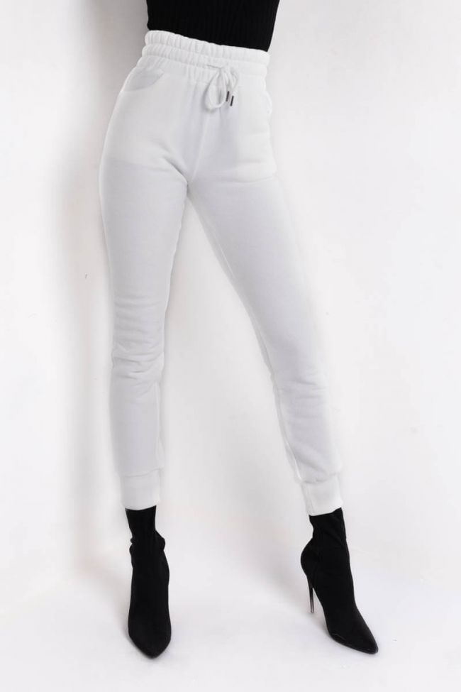 Front View Chillin Af High Waist Sweatpant in Ivory