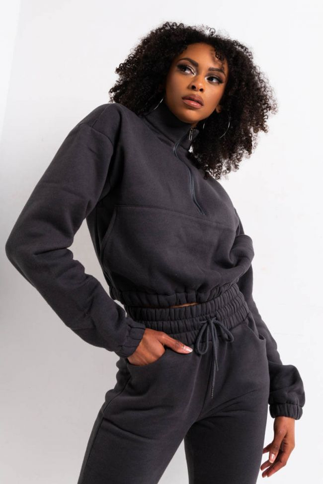 Front View Chillin Af Zip Front Sweatshirt in Charcoal
