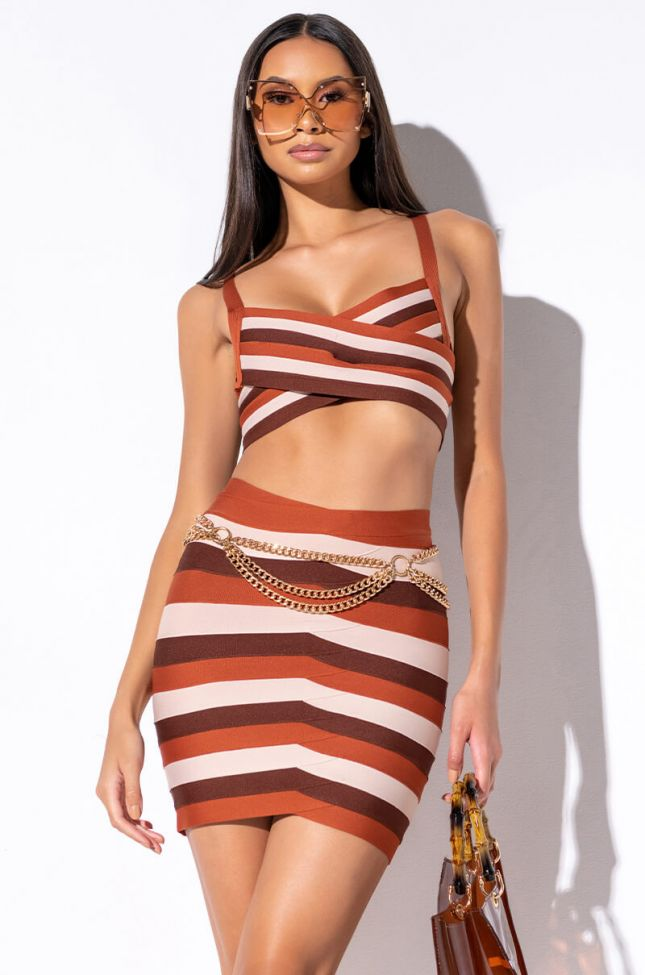 Front View Chocolate Bandage Top in Brown Multi