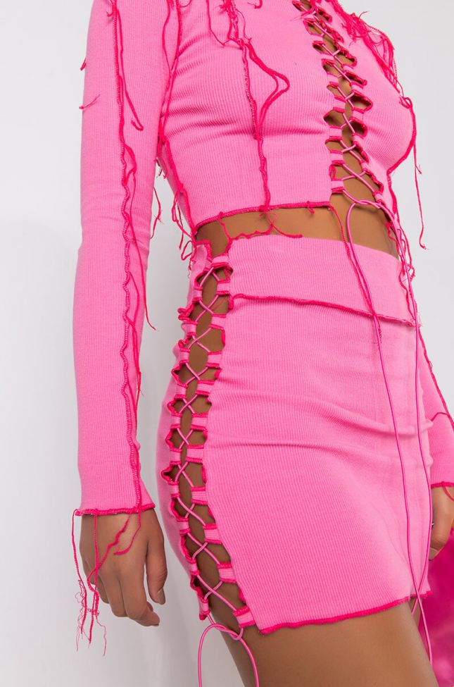 Detail View City Barbie Lace Up Mini Skirt in Pink