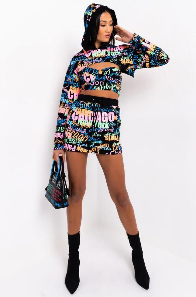 City Girl Mini Skirt in Black Multi