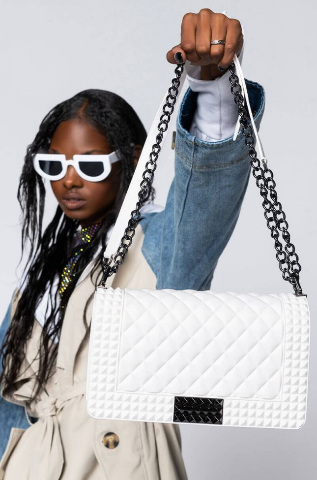 Front View Classic Quilted Rubber Purse in White