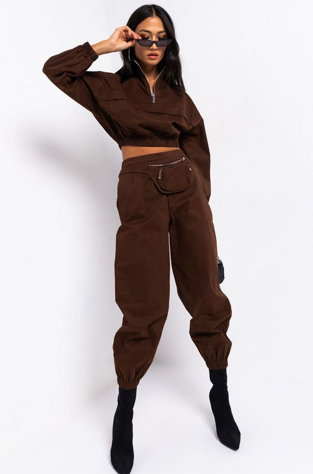 Full View Classic Touch Casual Joggers in Brown