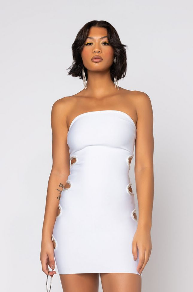 Front View Classy Tube Dress With Rhinestones in White