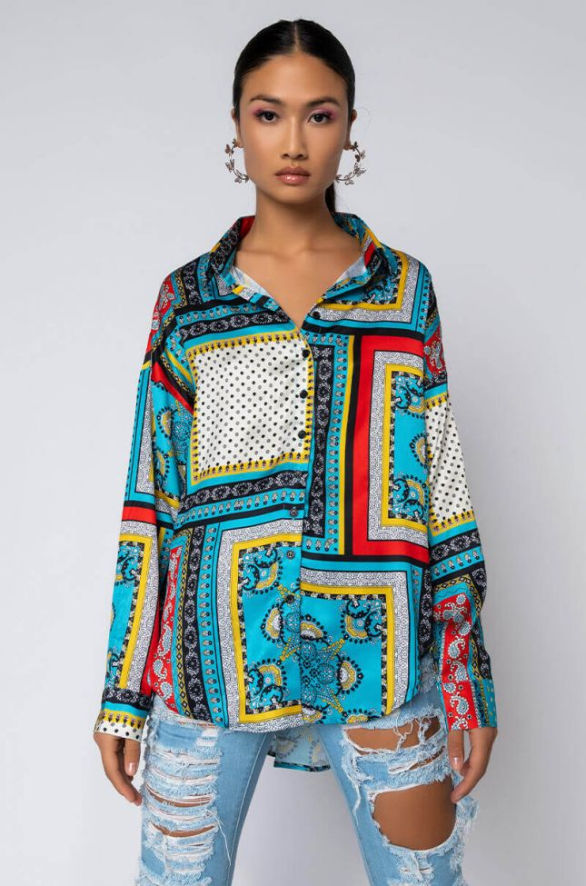 Front View Clear Blue Sky Long Sleeve Collared Blouse in Blue Multi