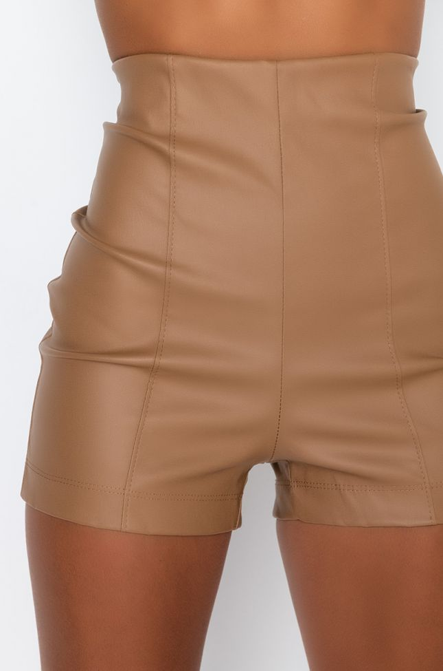 Detail View Club High Waisted Pleather Shorts in Light Brown