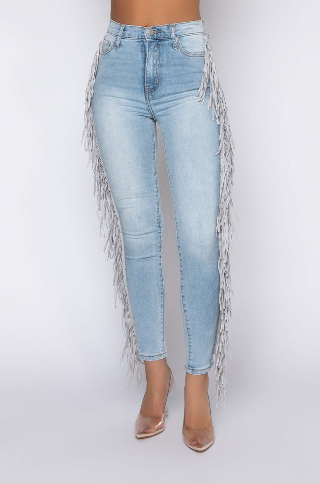 Front View Coachella High Rise Fringe Skinny Jeans in Light Blue Denim