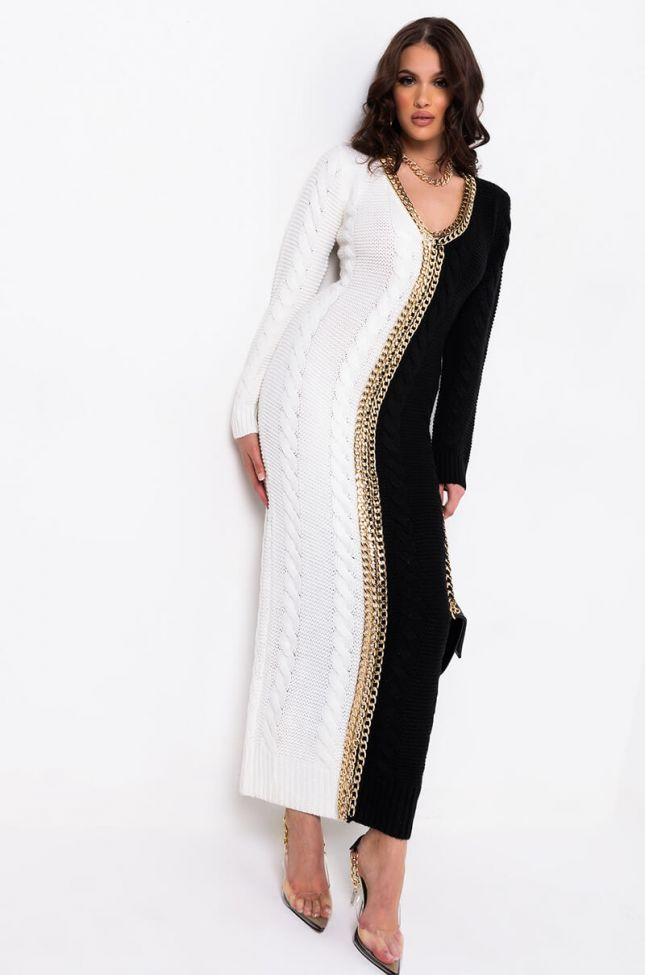 Side View Coco Forever Chain Print Sweater Maxi Dress in Black White