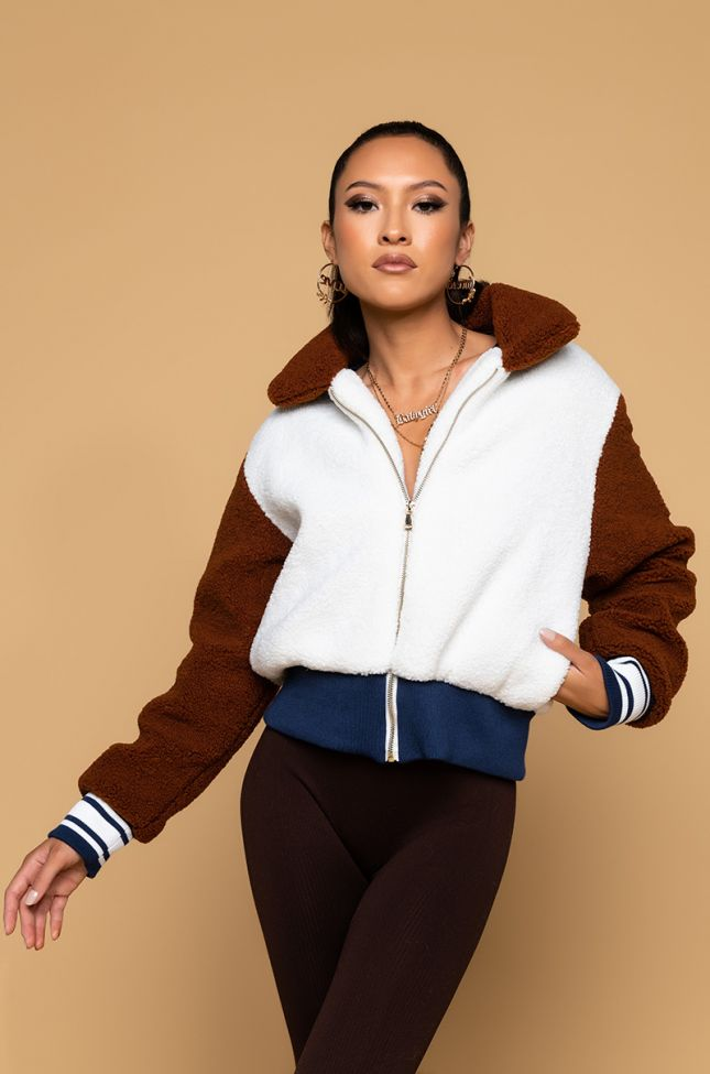 Side View Color Block Sherpa Bomber in Brown Multi