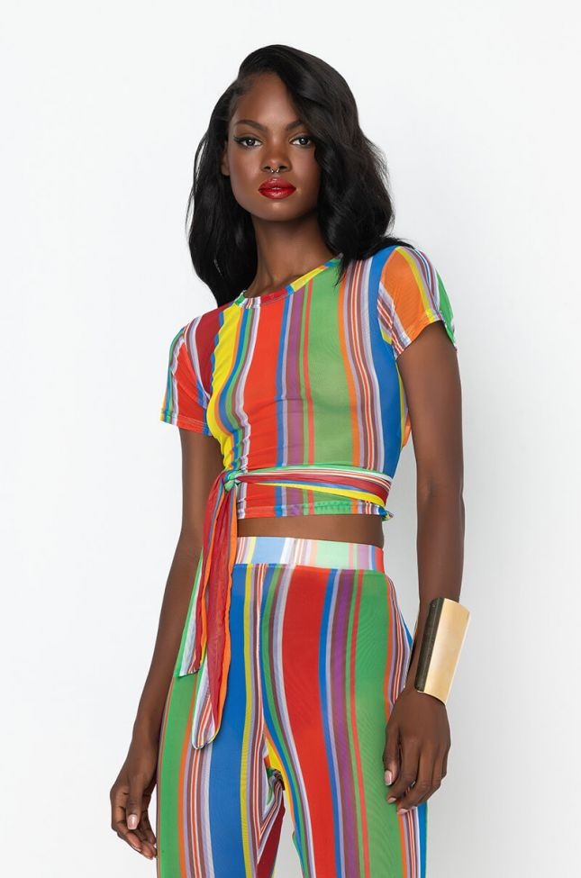 Front View Color Me Up Crop Mesh Top in Blue Multi