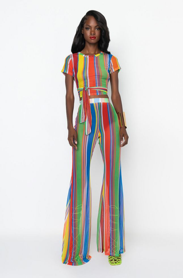 Full View Color Me Up Wide Mesh Palazzo Pants in Blue Multi