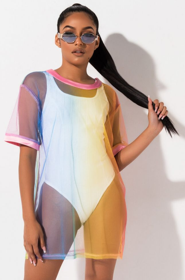 Front View Colored Sky Mesh T Shirt in Pink Multi