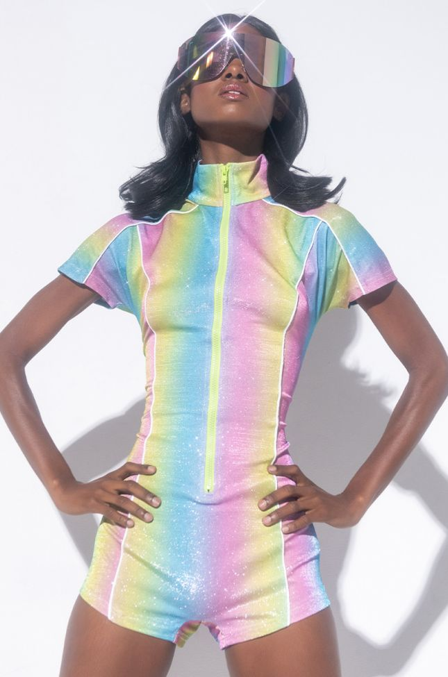 Front View Colors Of The Wind Romper in Blue Multi