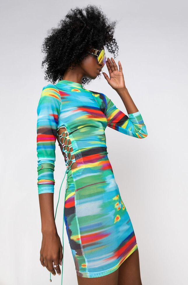 Side View Colors Of The Wind Side Lace Up Long Sleeve Mini Skirt in Blue Multi