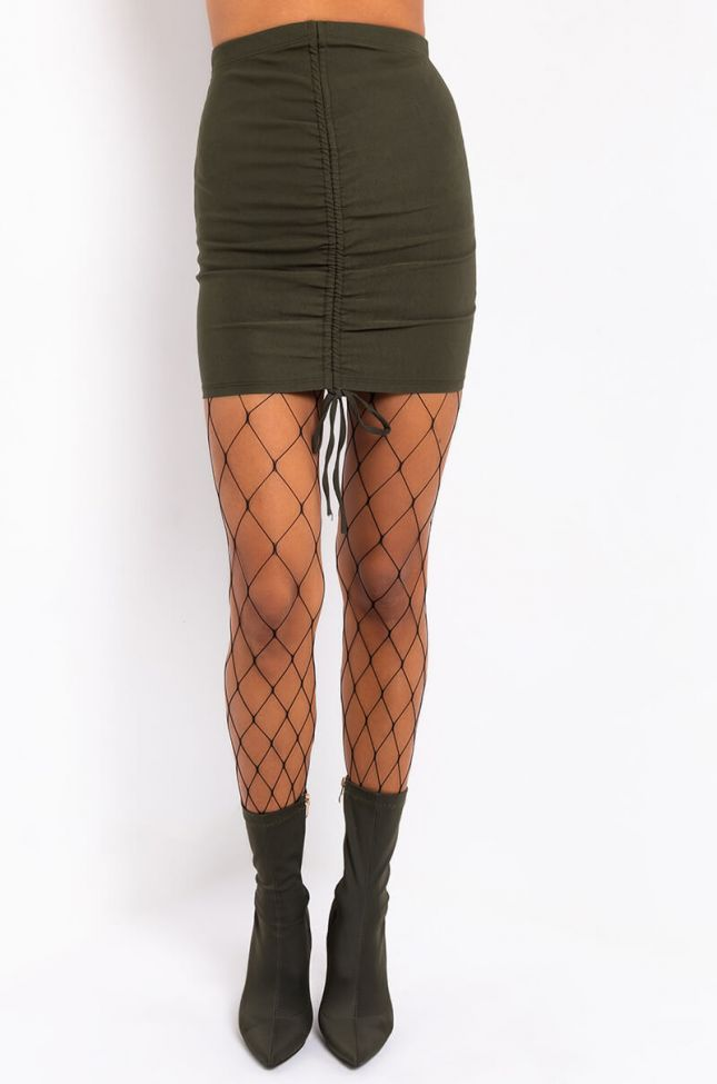Front View Combating Feelings Stretch Lace Up Mini Skirt in Rust