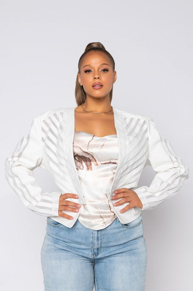Front View Come A Little Closer Mesh Pleather Plus Jacket in White