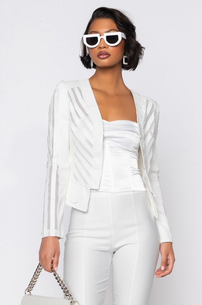 Front View Come A Little Closer Mesh White Pleather Jacket in White