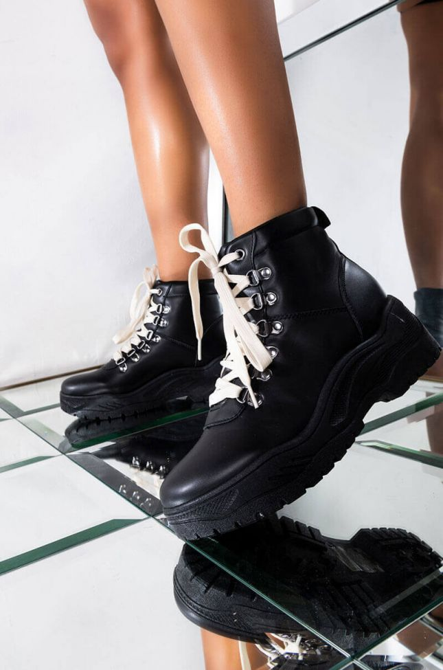 Front View Come And Get It Baby Bootie in Black Pu