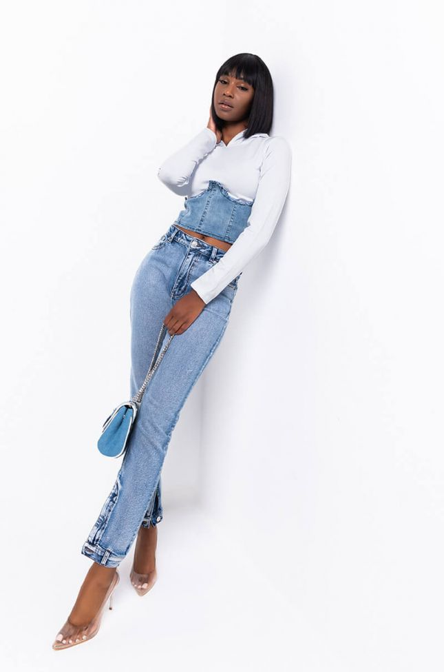 Front View Come To Me Denim Corset Knit Top in Grey