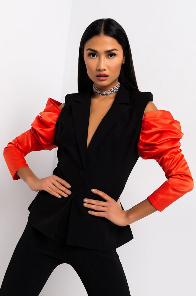 Front View Come To Me Off The Shoulder Puff Sleeve Blazer in Black Multi