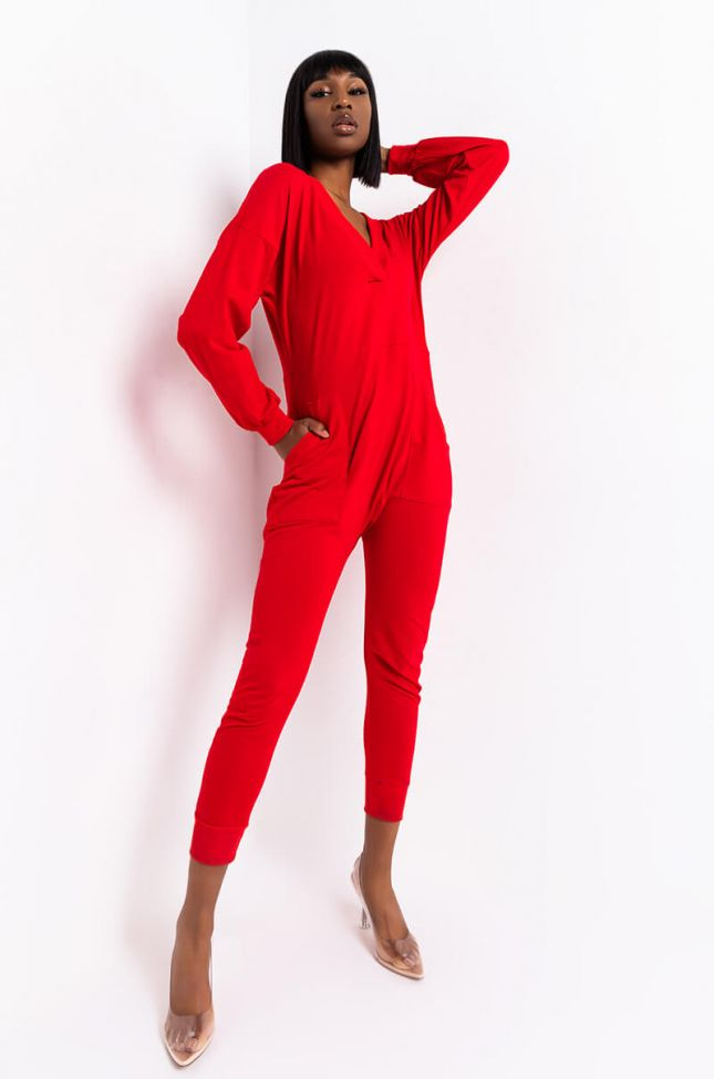 Side View Comfort Inn Long Sleeve Jumpsuit in Red