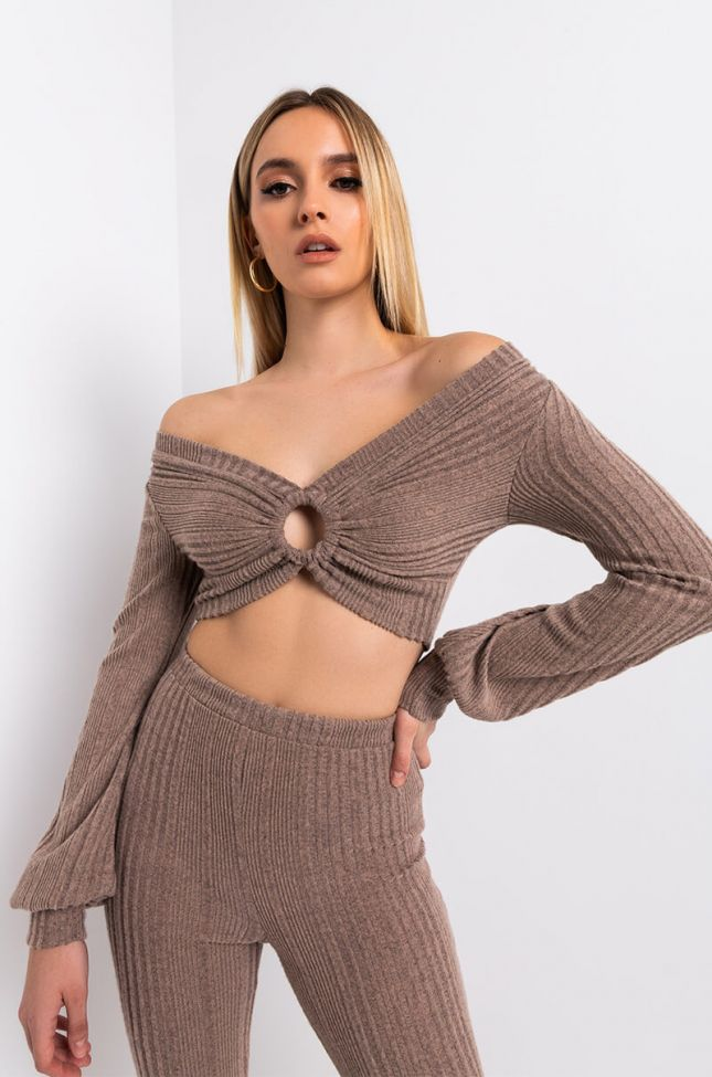 Front View Comfy Tingz Casual Knit Top in Beige