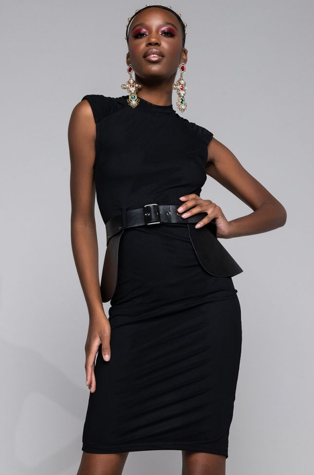 Front View Commander Belted Midi Dress in Black