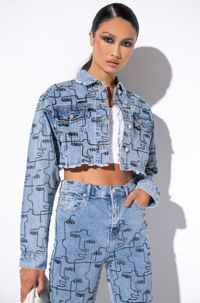 Front View Common Supply Faces Denim Jacket in Light Blue Denim