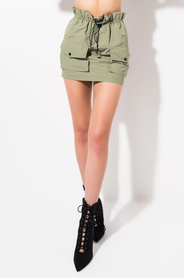 Front View Confess To Me Mini Skirt in Olive