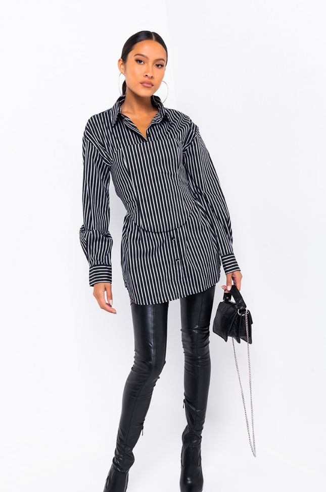 Front View Corinna Shirt With A Corset in Black Grey
