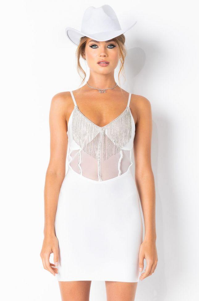 Front View Corset Detail Diamond Fringe Bandage Mini Dress in White