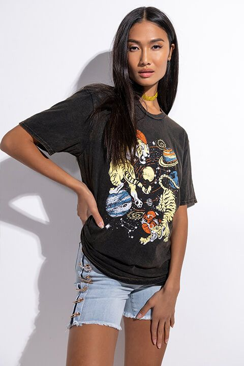 Front View Cosmic Printed T Shirt