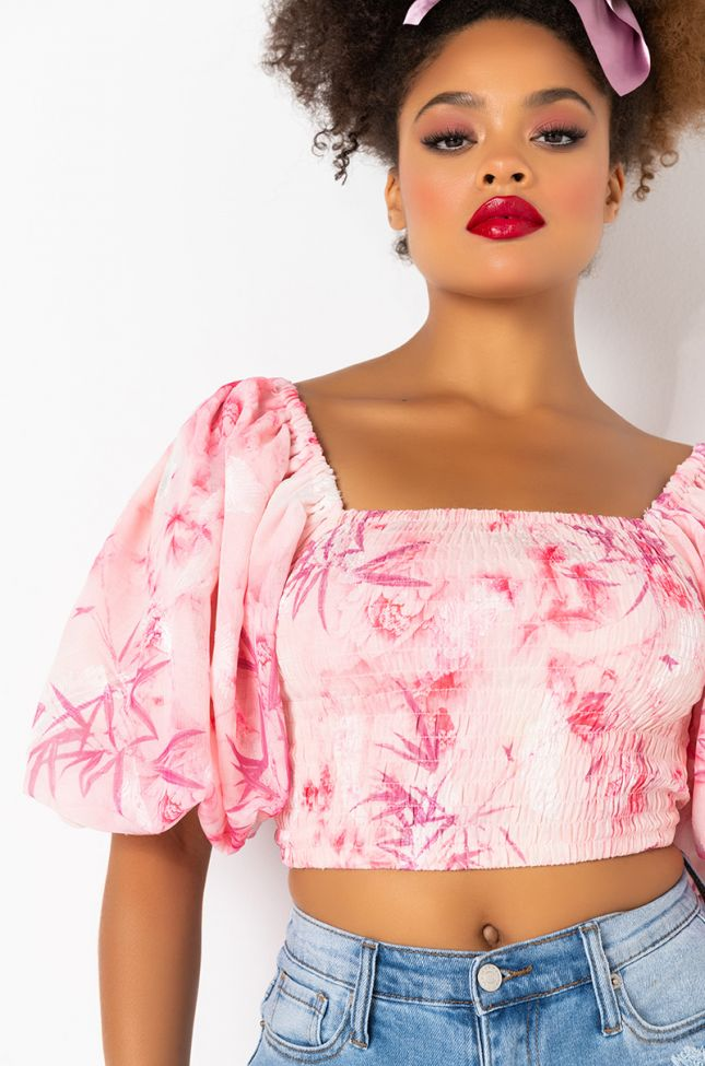 Detail View Cosmo Off The Shoulder Floral Blouse in Pink