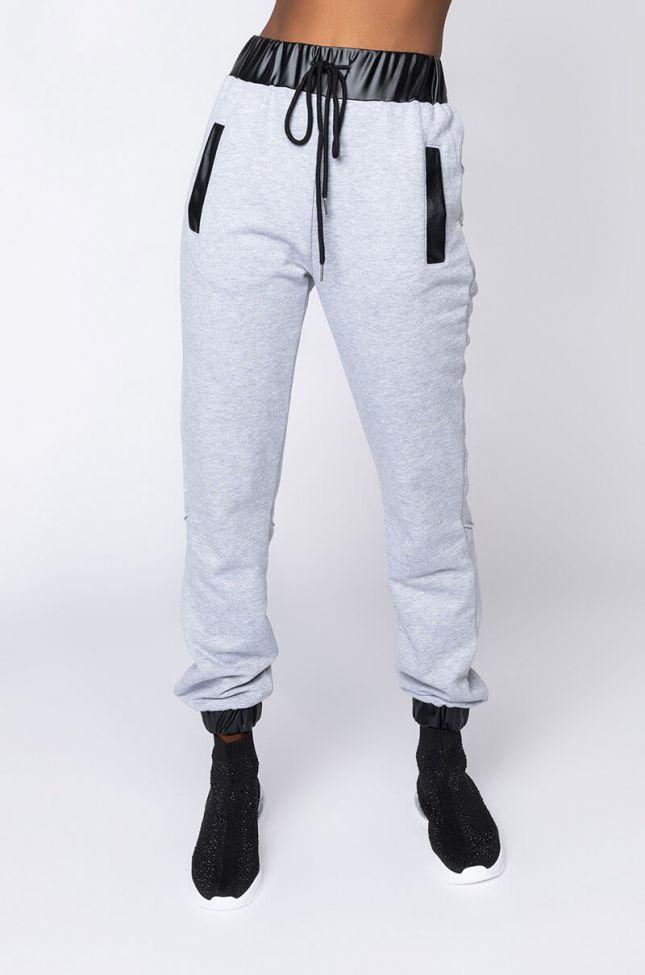 Front View Cosmopolitan Girl Sweatpants in Grey