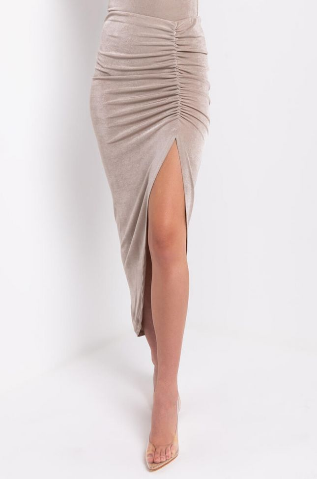 Front View Could All Be So Simple Ruched Slit Skirt in Taupe