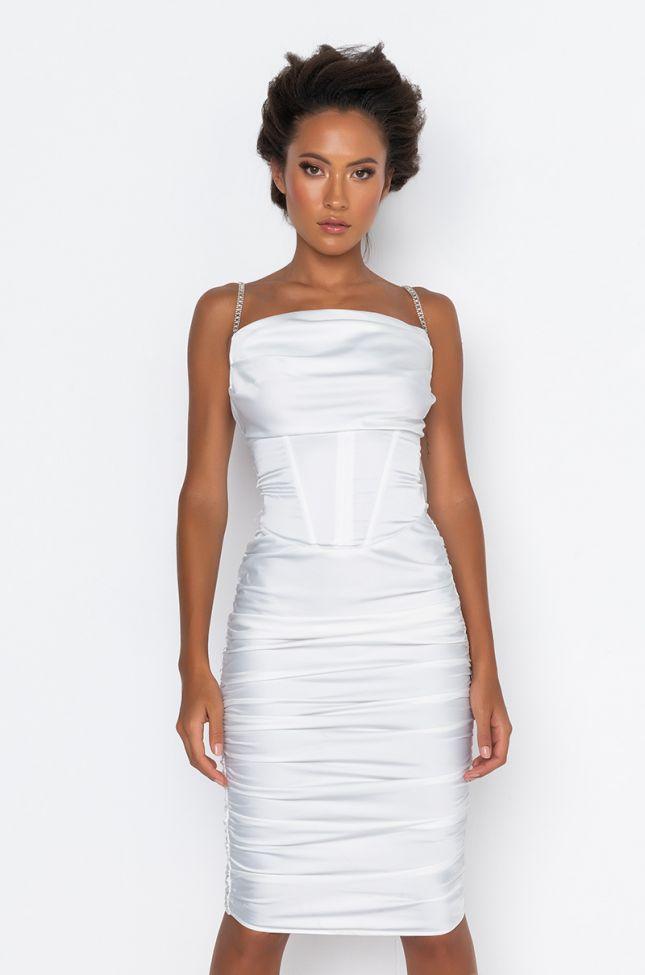 Front View Courtside Baby Rhinestone Straps Midi Dress in White