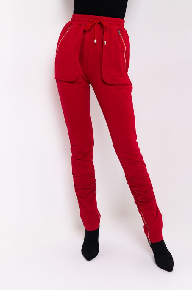 Front View Cover Me Up Sweatpant With Hem Slit in Red