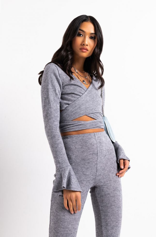 Front View Cozy And Cute Tie Front Top in Heather Grey