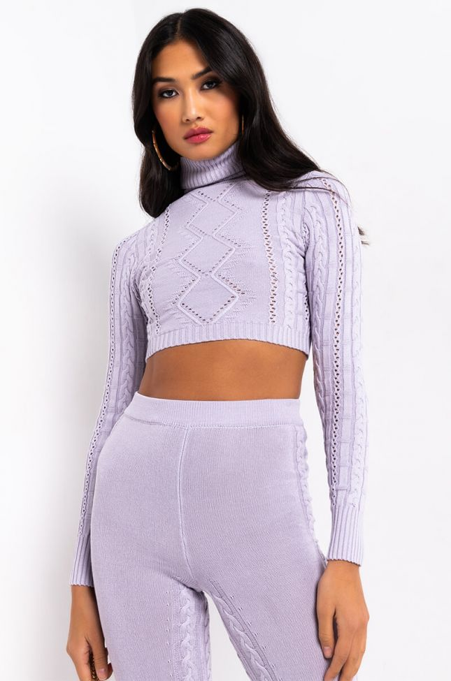 Front View Cozy Queen Turtleneck Sweater in Light Purple