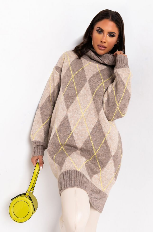 Front View Cozy Turtleneck Sweater Dress in Taupe