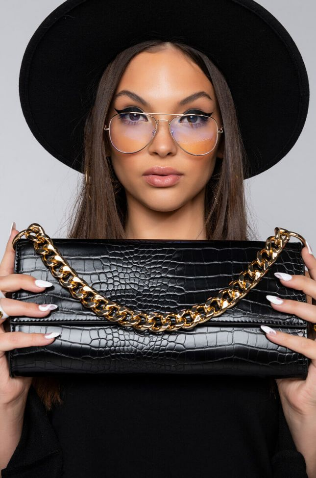 Front View Croc Baguette Chunky Chain Clutch in Black Gold