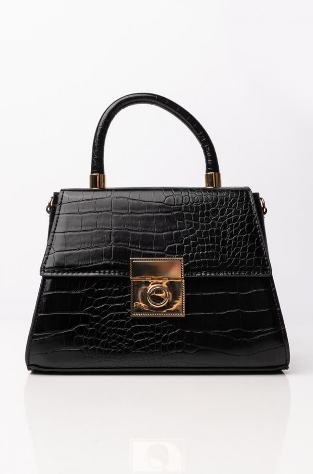 Side View Croc Chic Purse in Black
