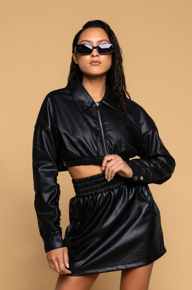 Front View Crop Stacked Arm Bomber in Black