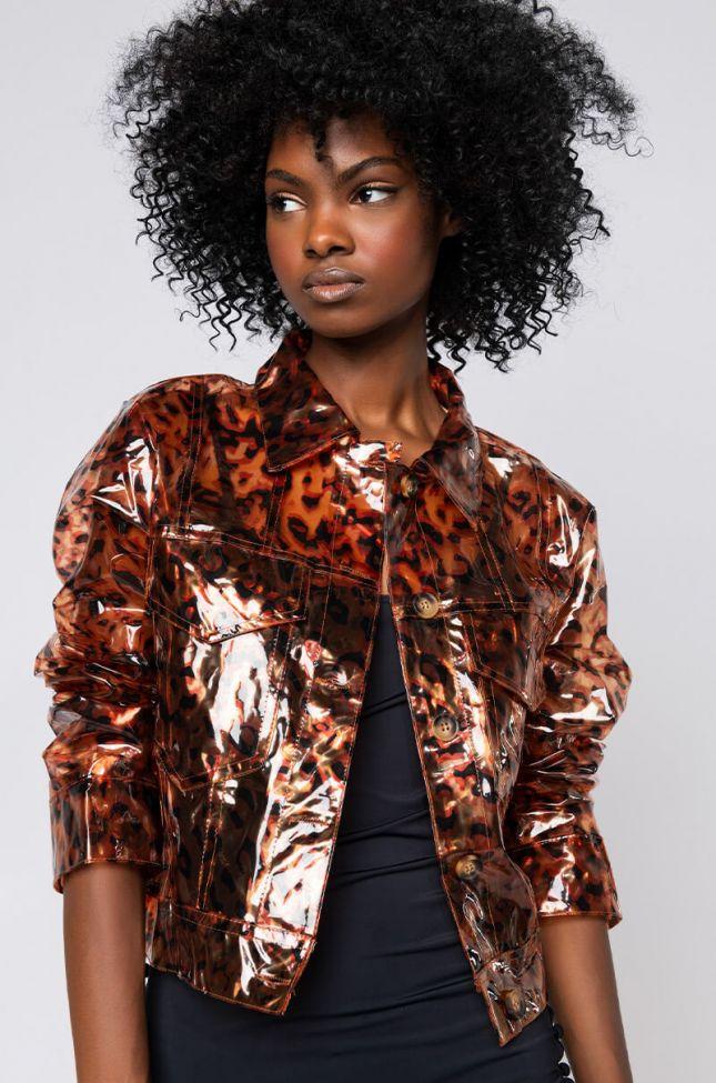 Front View Cropped Cheetah Raincoat in Brown Cheetah