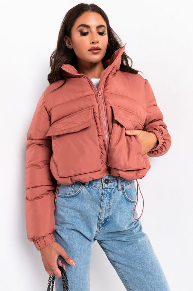 Front View Cropped Puffer Jacket in Dark Pink