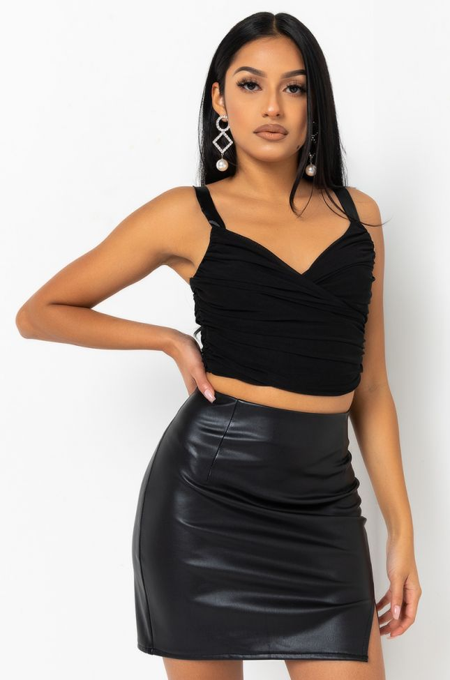Front View Cross It Up Double Mesh Top in Black